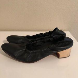 Rachel Comey leather wood block kitten heels.